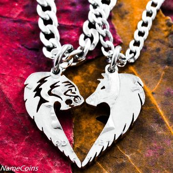 Tribal Tiger and Wolf Necklace Set