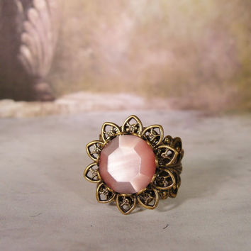 1950s Victorian Antique Brass Petal Filigree and Vintage Glass Rose Pink Faceted Moonstone Ring
