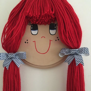 Doll Face Bow and Hair Clip Organizer-Custom Made- Red Hair with Bangs and Blue Eyes