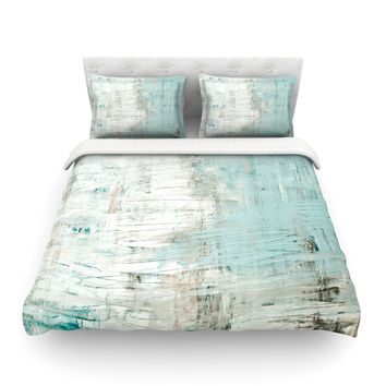 "Iris Lehnhardt ""Bluish Green"" Neutral Blue Featherweight Duvet Cover"
