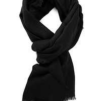 FOREVER 21 Frayed Woven Scarf Black One