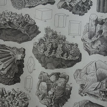 MINERALS antique print - lovely original 1849 old poster - vintage b/w pictures of mineral rocks stones geology gifts illustration - 9x12""