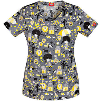 Gen Flex By Dickies Women's Jr Fit V-Neck Critter Print Scrub Top