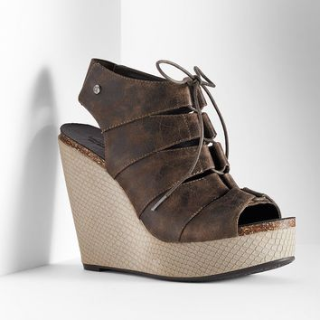 Simply Vera Vera Wang Women's Peep-Toe Dress Wedge Platform Heels