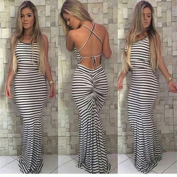 New Fashion Women Sexy Bodycon Club Wear Dress Backless Sleeveless Floor-length Striped Print Party Long Dress  [9305610567]