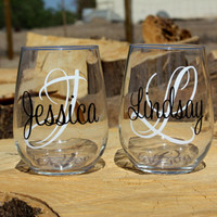 4 Personalized Monogram Stemless Wine Glasses. Great for bachelorette and wedding parties. Custom Lip Wine glasses.