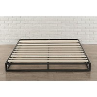 Full size 6-inch Low Profile Metal Platform Bed Frame with Wooden Slats
