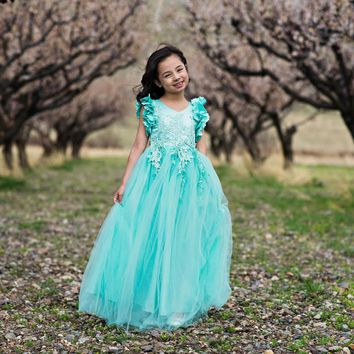 Ariana Mint Petal Sleeve Satin & Lace Dress Gown