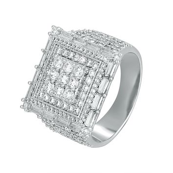 14k White Gold Finish Men's Hip Hop Square Baguette Ring