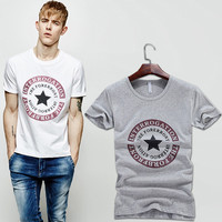 Summer Round-neck Short Sleeve T-shirts Men Korean Slim Print Cotton Stretch Bottoming Shirt [6544649859]