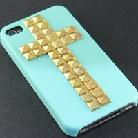Golden pyramid stud white Hard Case Cover ----for Apple iPhone 4 Case, iPhone 4s Case, iPhone 4 Hard Case