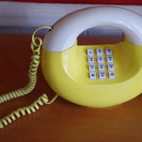 1970s Vintage Sculptura Donut Phone Telephone YELLOW and White