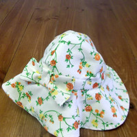 Sun Hat Baby/Toddler Floral Woven Linen Three Sizes