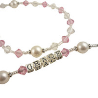Light Rose Pink & White Personalized Rosary with Name-any color swarovski Crystal Baptism-  Pearl- Christening- First Communion Confirmation