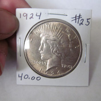1924 Liberty Peace Dollar 1924 Silver Dollar Antique Coins USA Silver Coins Antique Coins Us Currency Rare Coin Collection Coin Collector