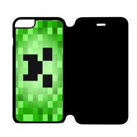 Minecraft Creeper Blue Like a Boss iPhone 6S Flip Case Cover