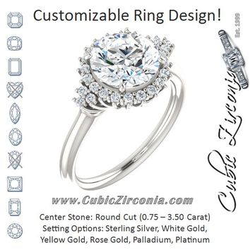 Cubic Zirconia Engagement Ring- The Winter (Customizable Round Cut Cathedral-Halo Design with Tri-Cluster Round Accents)