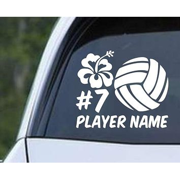 Volleyball - Hibiscus Personalized Name and Number Die Cut Vinyl Decal Sticker