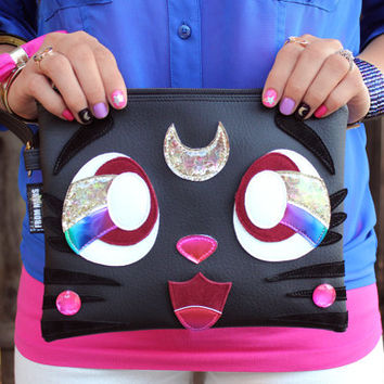 The Purrrfect Clutch Bag With Wristlet | Sailor Moon Inspired Luna Cat | Purse | Geek Chic