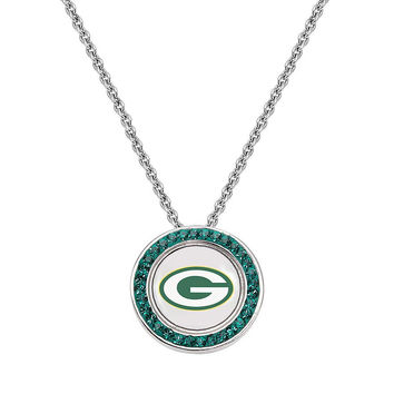 Green Bay Packers Crystal Pendant Necklace - Swarovski Elements
