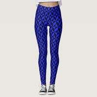 Black and Blue Abstract Geometric Leggings
