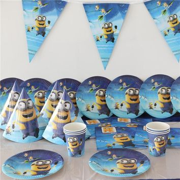 For 12People Minions Disposable Party Set Birthday Decorations Kids Boy Baby Shower Cup Plate Napkins Tablecover Tableware 58pcs