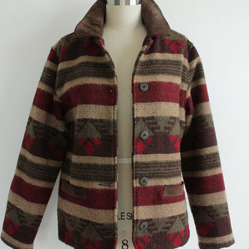Vintage 90s Woolrich Women's Southwestern Woven Wool Jacket | medium