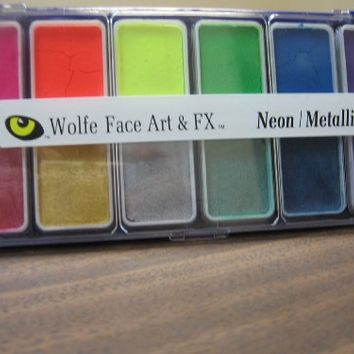 Wolfe 12 Color Palette/Face Paint Kit Neon/Metallix
