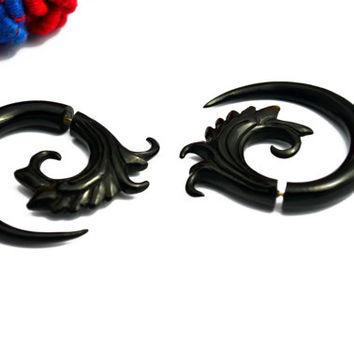 Fake Gauges Spiral Earrings Black Horn Flower Organic Natural Tribal Earrings Organic - FG040 H G1