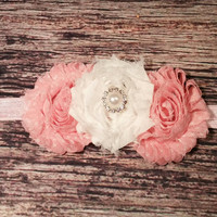 Light Pink Polka Dot and White Shabby Rhinestone Baby Girl Headband!