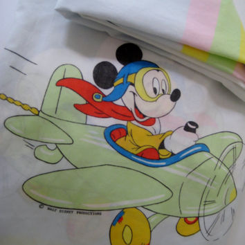 RARE Vintage Disney Mickey Mouse Fitted Bed Sheet TWIN Size Kids Bedding Donald Jiminy Cricket Airplane Wamsutta Bed Sheet Clean Used HTF