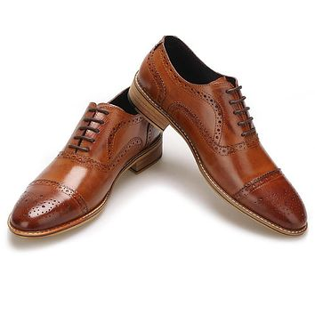 High Quality Men Shoes Style Carved Genuine Leather Shoe Brown Brogue Shoes Lace-Up Bullock Business Men's Flats