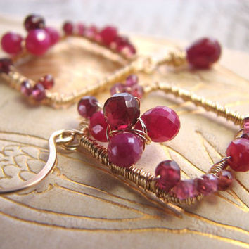 RUBY earrings gold wire wrapped gemstone flower by shadowjewels