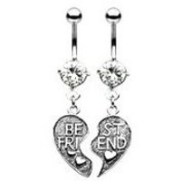 Body Accentz® Belly Button Ring Navel Best Friends Broken Heart Body Jewelry Dangle 14 Gauge HO285