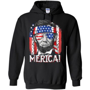 4th of July  for Men Merica Abe Lincoln Boys Kids Gift Pullover Hoodie 8 oz