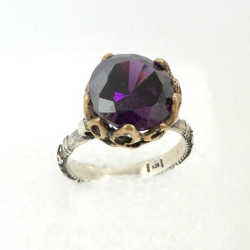 Purple Topaz Ring, Vintage Two Tone Antique Sterling Silver Ring, Size 6.25