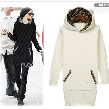 PEAPIX3 Lovely Leopard Hats Hoodies Dress Jacket [4918513604]