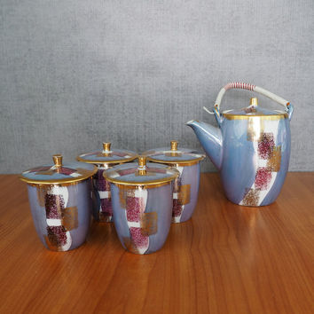 Tatung Porcelain Lusterware Tea Set / Tea Pot, Four Lidded Tea Cups / Made in Taiwan / Blue, Purple, Gold