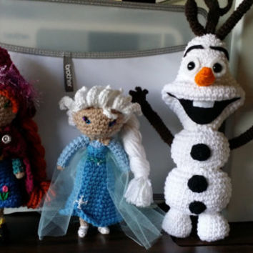 Crochet Doll / Amigurumi - Queen, Princess and Snowman Characters
