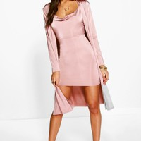 Darla Slinky Cowl Neck Dress & Duster Co-Ord Set | Boohoo
