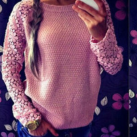 Hollow Out Lace Sleeves Splice Sweater