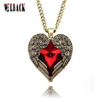 Fashion jewlery Europe and United States court of red peach heart wings long necklace restoring ancient ways