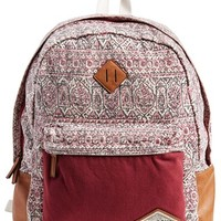 Junior Women's Billabong 'Hidden Trek' Geo Print Canvas Backpack - Red
