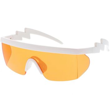 Oversize Semi Rimless Goggle Shield Sunglasses Color Lens 60mm