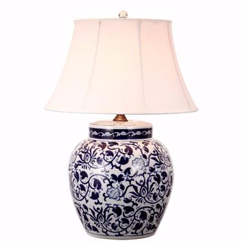 Floral Patterned Table Lamp With Shade, Blue and White