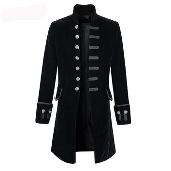 Men Steampunk Costume Brocade Jacket Gothic Steampunk Vintage Victorian Coat Top Male Vintage Halloween Cosplay Jacket Outfit