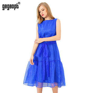 Gagaopt 2017 Summer Dress Blue Ruffles Net Yarn Long Party Dresses Sleeveless Blue Dress Elegant Beach dress Vestidos Robes