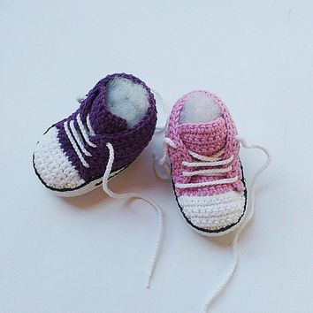 Pink Crochet Baby shoes, Purple Crochet Baby shoes, Baby sneakers, Converse style crochet shoes, Baby booties, crochet slippers,toddler shoe