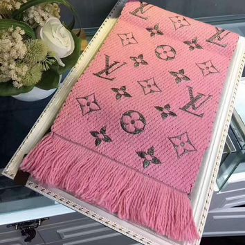 LV Louis vuitton gold silk women trend exquisite knitting wool scarf shawl special cabinet F-XLL-WJ pink