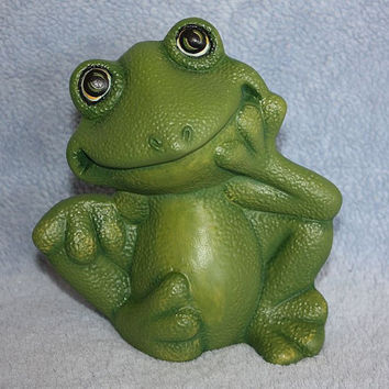 Handpainted Ceramic Little Green Frog by FlutterbyConnections